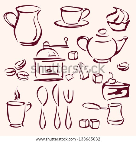 collection of tea coffee and cakes silhouettes vector llustration