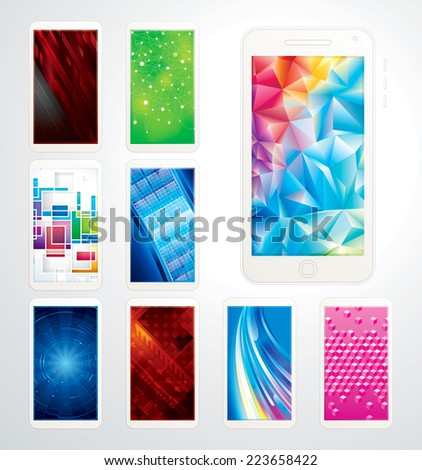 Collection of technology screen background, phones wallpaper. - stock vector