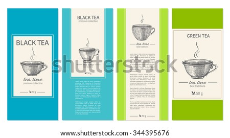 Collection of templates for packaging tea, coffee. Design for label, banner, poster, identity, branding with sketched cups and text. Can be used for magazines, web sites, restaurant menu, page. - stock vector