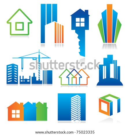 Collection of templates icons - Building of and real estate. Abstract color element set of corporate templates. Just place your own name. - stock vector