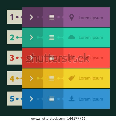 Collection of templates modern flat design ui step banners - stock vector