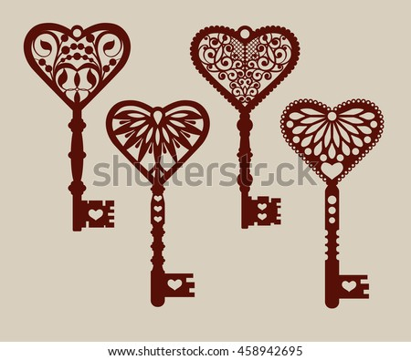 Collection Templates Decorative Keys Laser Cutting Stock Vector ...