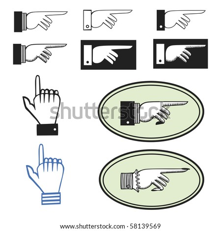 Collection of ten different pointing hands - stock vector
