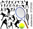 collection of tennis vector - stock vector