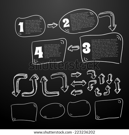 Collection of text boxes and arrows for making charts sequences or business presentaions. Vector eps10. Chalk version. - stock vector