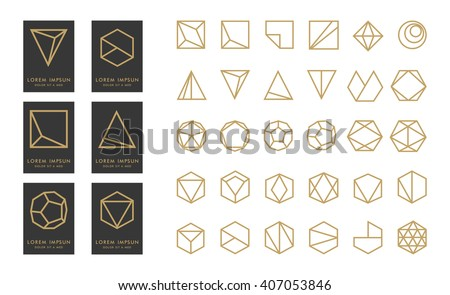 Collection of thin 30 black icons,6 trendy gold Logo.Linear design elements.Geometric icon,geometric pattern,geometric shape,label,monogram,hexagons,triangles,squares,circles.Vector.Isolated on white - stock vector