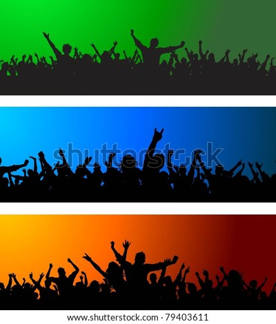 Collection of three different crowd scenes - stock vector