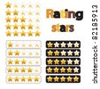 collection of three rating stars designs - stock vector