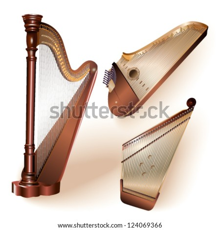 Collection of three traditional string plucked instruments - classical harp, Latvian kokle and Finnish kantele