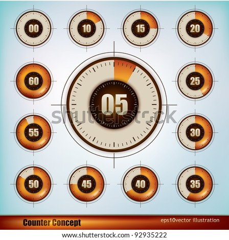 Collection of timer icons design in five minutes increments - stock vector