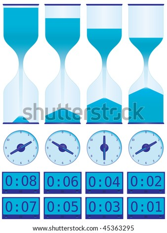 Collection of timers including hour glasses, dial timers, and digital displays shown with various amounts of time remaining. Vector includes high resolution JPG (3600px X 4800px). - stock vector
