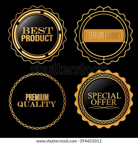 Collection of  top quality badges with gold border - stock vector