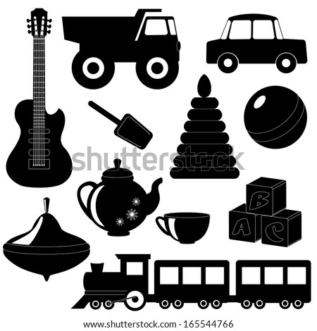 Collection of toys silhouettes isolated on white - stock vector