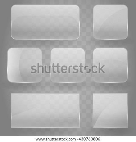 Collection of transparent reflecting square glass banners with rounded corners and gloss reflection effect. Vector illustration icons set. Glass square reflecting round grey, blank glass - stock vector