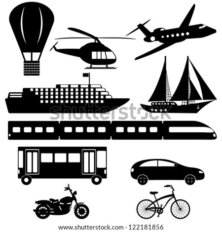 collection of transport icons on white background - stock vector