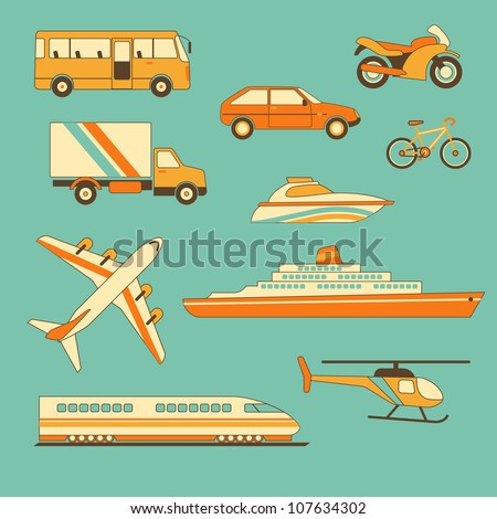 Collection of transportation facilities - stock vector