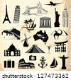 Collection of travel icons and symbols elements - stock vector