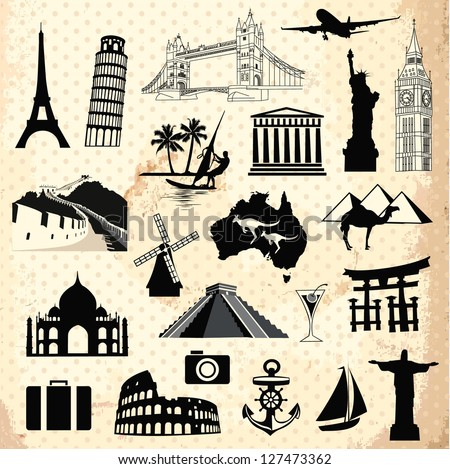 Collection of travel icons and symbols elements