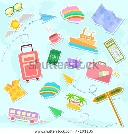collection of travel symbols - stock vector