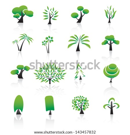 Collection of tree design elements Icons set. - stock vector