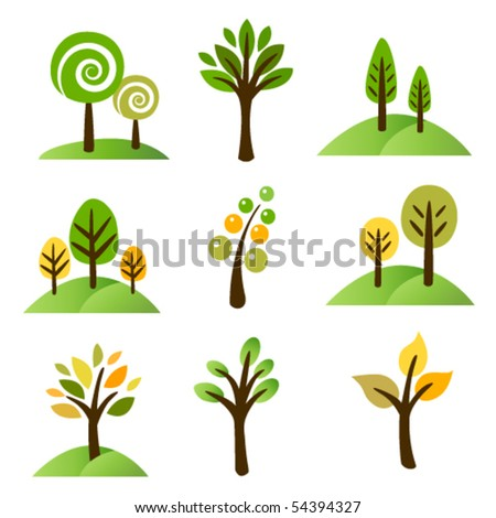 Collection of trees - stock vector