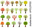 Collection Of Trees, Isolated On White Background, Vector Illustration - stock photo