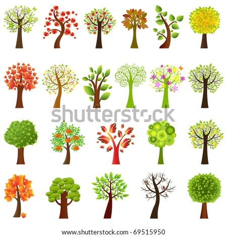 Collection Of Trees, Isolated On White Background, Vector Illustration - stock vector