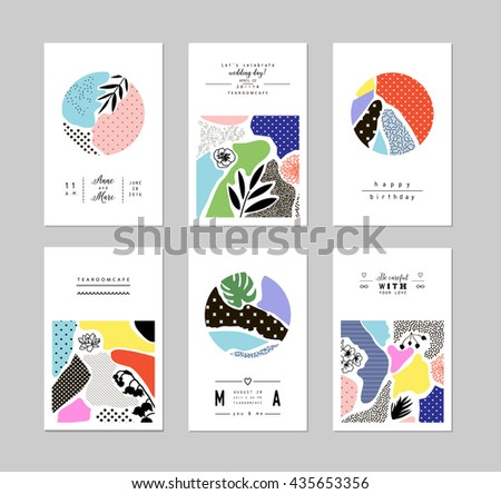 Collection of trendy creative cards with floral elements and different textures. Collage. Design for poster, card, invitation, placard, brochure, flyer. Vector - stock vector