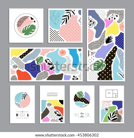 Collection of trendy creative cards with floral elements and different textures. Collage. Design for poster, card, invitation, cover, placard, brochure, flyer. Vector - stock vector