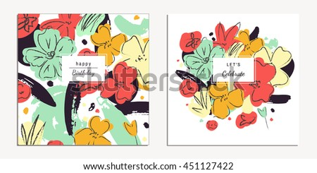 Collection of trendy universal floral cards. Vector design for birthday, wedding invitation, placard, brochure. Floral art print. Isolated - stock vector