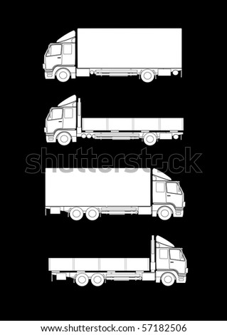 Collection of truck silhouettes - stock vector