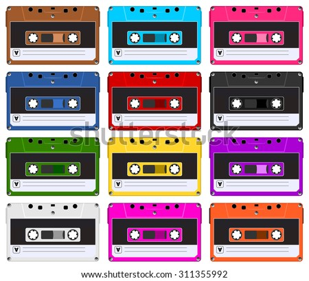 Collection of twelve colorful plastic audio cassette tape. Set of different color music tapes. old technology, realistic retro design, vector art image illustration, isolated on white background eps10 - stock vector