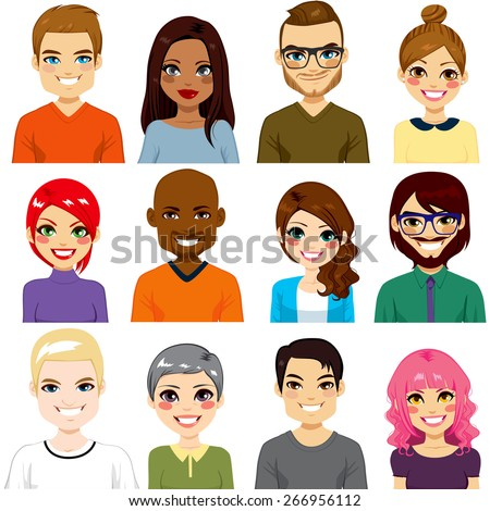 Collection of twelve different people avatar portraits from diverse ethnicity and age - stock vector