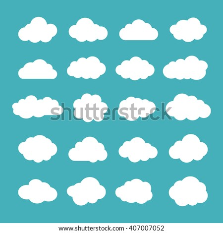 Collection of twenty cloud icons. Set of cloudlet silhouette symbols. White clouds isolated on turquoise or greenish blue color background. EPS8 vector illustration in flat style. - stock vector