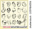 Collection of twenty hand drawn cartoon heads in black, isolated on light yellow background (9) - stock photo