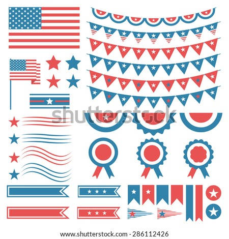 Collection of United States of America decoration elements. Fourth of July,  Independence Day. Vector illustration - stock vector
