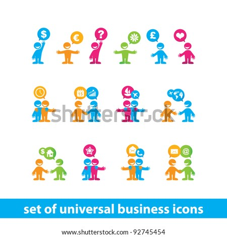 Collection of universal business icons. Business people - business communication. Vector.