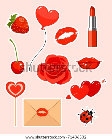 Collection of valentines stickers - stock vector
