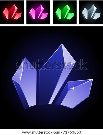 Collection of varios modern stylized gems on black - stock vector