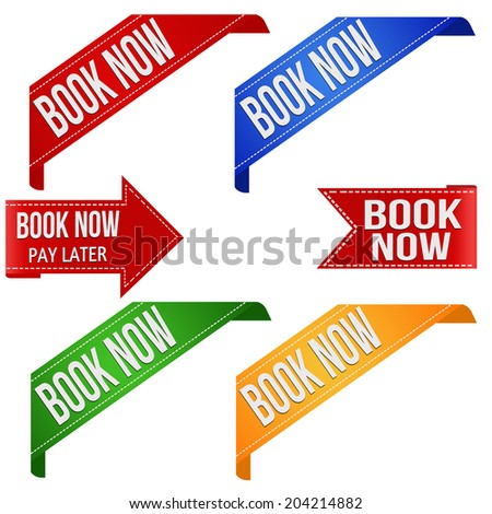 Collection of various book now promo ribbons on white, vector illustration