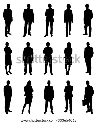 Collection Of Various Businesspeople Silhouettes. Vector Image - stock vector