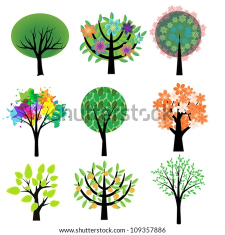 Collection of various decorative trees