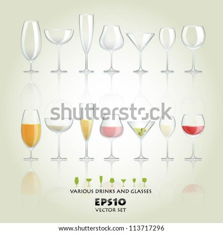 Collection of various drinks and glasses - stock vector