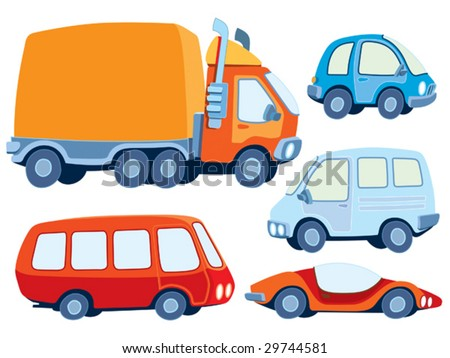 Collection of various funny hand-drawn cars - vector illustration - stock vector
