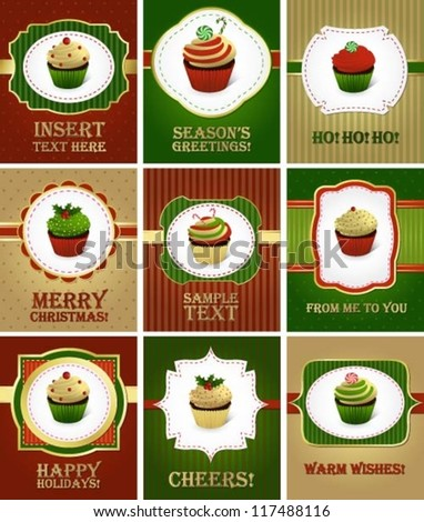 Collection of various greeting cards with cupcakes - stock vector