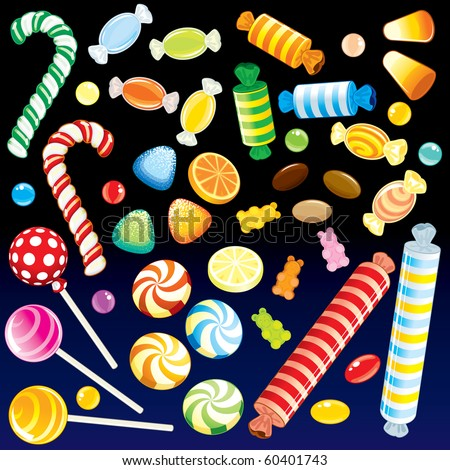 Collection of various motley Candies from Candy Store - detailed vector, all elements grouped, separated-MORE NEW SETS SEE AT MY GALLERY - stock vector