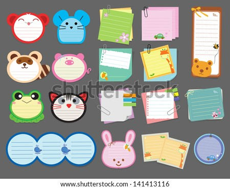 Collection of various note papers, Vector illustration template design - stock vector