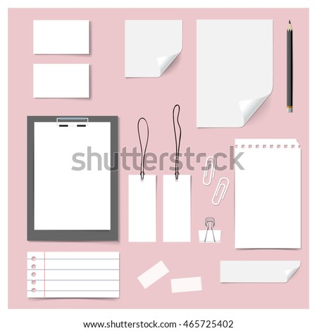 Collection of various papers (paper sheets, lined paper, note paper, price tag, name card), ready for your message. Vector illustration.