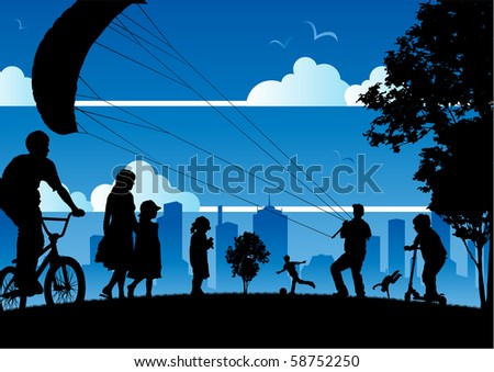 collection of various people enjoying various activities on a summer's day in the city. all individual people are complete and layered separately for easy editing. have fun! - stock vector