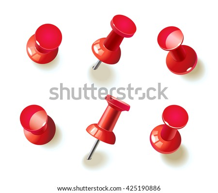 Collection of various red push pins. Thumbtacks. Top view. Vector illustration. Isolated on white background. Set. Front view. Top view. Close up. - stock vector